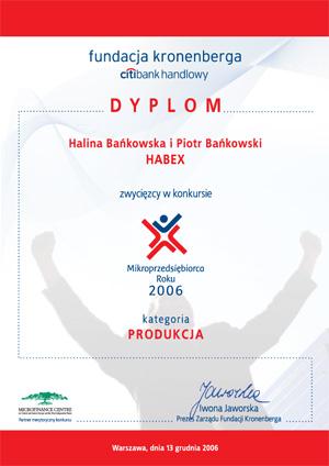 Habex dyplom fundacja kronenberga